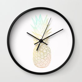 Ombre Gold Pineapple  Wall Clock