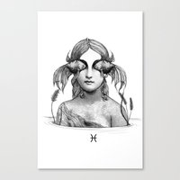 pisces Canvas Prints featuring Pisces by Carolina Espinosa