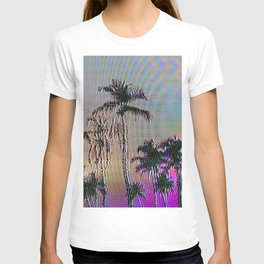 Analogue Glitch Palm Trees Sunset T-shirt