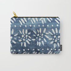 Vintage indigo inspired  flowers and lines Carry-All Pouch