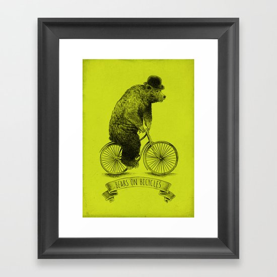 Bears on Bicycles (Lime) Framed Art Print