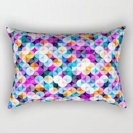 Retro petal diamond geometric colorful abstract hand drawn illustration pattern Rectangular Pillow