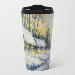 Snowy Road through Town Travel Mug