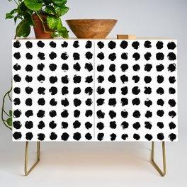 Black and White Minimal Minimalistic Polka Dots Brush Strokes Painting Credenza