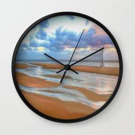 The Beach at Sunset (Digital Art) Wall Clock