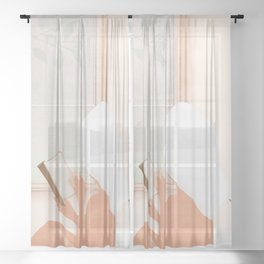 Reading Girl in Bathtub Sheer Curtain