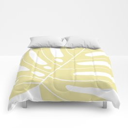 Yellow monstera deliciousa illustration Comforters