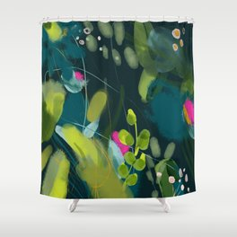 abstract jungle fever leaves in floral green Shower Curtain