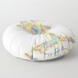 Go Home Lake - Coloured Map Floor Pillow