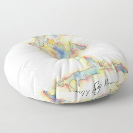 Go Home Lake - Coloured Map Floor Pillow
