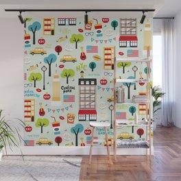 Fun New York City Manhattan travel icons life hipster pattern Wall Mural