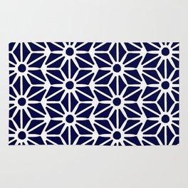 Asanoha Pattern - White on Navy Rug