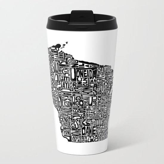 Typographic Wisconsin Metal Travel Mug