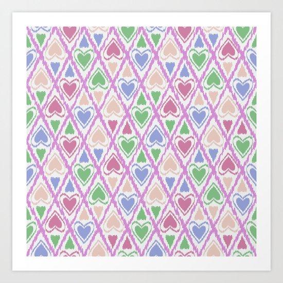 Favorite pattern . Brown, pink , green . Art Print