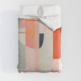 shapes modern mid-century peach pink coral mint Comforters