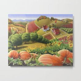 Appalachian Pumpkin Patch Rural Country Farm Life Landscape Metal Print