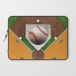 Baseball Field, Base and Ball over Orange Sports Pattern Laptop Sleeve