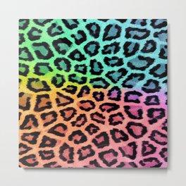 Modern pink teal ombre hipster animal print Metal Print