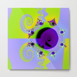 Fractal - Lilac and Green Metal Print