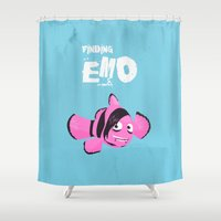 quibe Shower Curtains featuring Coupling up (accouplés) Finding Emo by quibe