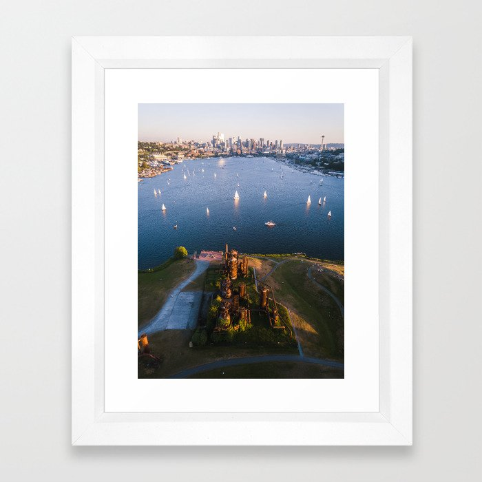 Gas Works and Lake Union Framed Art Print