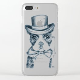 Boston Terrier Detective Clear iPhone Case