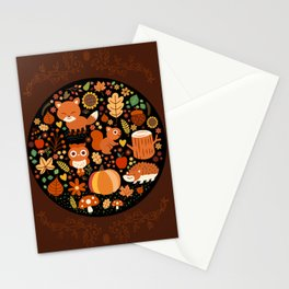 Autumn Party For Forest Friends Stationery Cards