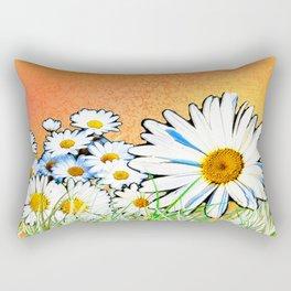 Daisies - Orange and Gold 2 Rectangular Pillow