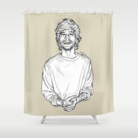 louis Shower Curtains featuring Louis Tomlinson  by Cécile Pellerin