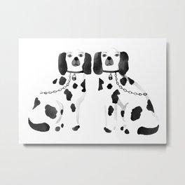 Staffordshire Dogs (Black) Metal Print