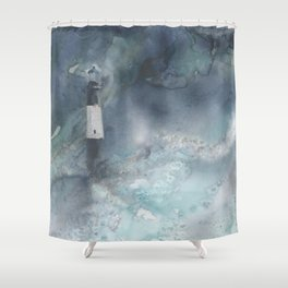 Night Storm at Tybee Lighthouse Shower Curtain