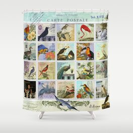 Birds of a Feather Postal Collage Shower Curtain
