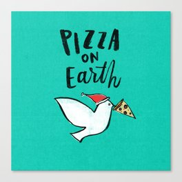 Pizza on Earth - Green Canvas Print