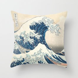 The Great Wave off Kanagawa by Katsushika Hokusai from the series Thirty-six Views of Mount Fuji Throw Pillow