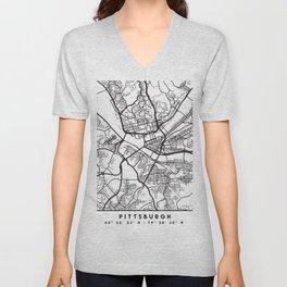 PITTSBURGH PENNSYLVANIA BLACK CITY STREET MAP ART Unisex V-Neck