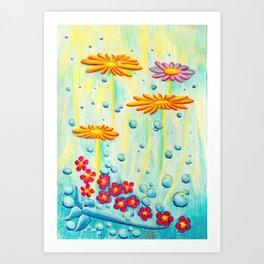 Aqua Fleur - Mazuir Ross Art Print