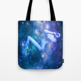 Blue Galaxy Woman : Nude Art Tote Bag