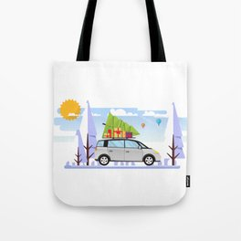 Chrismtas Design, Car with Christmas Tree On Top Tote Bag
