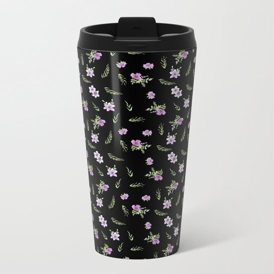 Seamless watercolor small flowers pattern on black Metal Travel Mug