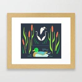 Mallard + Great Egret + Cattails Framed Art Print