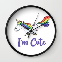Ice Cream Unicorn - I'm Cute Wall Clock