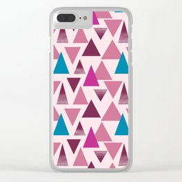 Fuchsia triangles surface pattern Clear iPhone Case