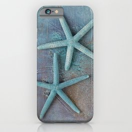 Turquoise Starfish on textured Background iPhone Case
