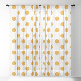 Polka Dots (Classic Orange & White Pattern) Sheer Curtain