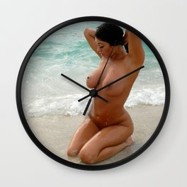 9037-SS Beautiful Naked Woman Nude Beach Sand Surf Big Breasts Long Black Hair Sexy Erotic Art Wall Clock