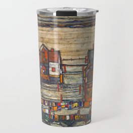 Egon Schiele - Houses with laundry (Suburb II) 1914 Travel Mug