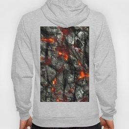 Fiery lava glowing through dark melting stone Hoody