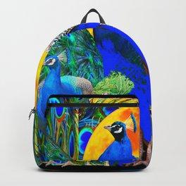 IRIS ART BLUE PEACOCKS & FULL GOLDEN MOON Backpack