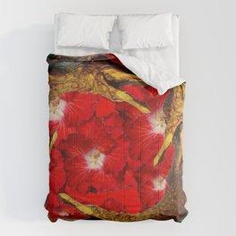 RED BLOODY HIBISCUS FLOWERS ALLIGATORS GOLD ART Comforters