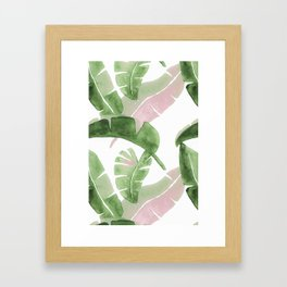 Tropical Leaves Green And Pink Framed Art Print